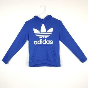 Adidas Boy's Blue Hoodie w/Large Logo, Size M